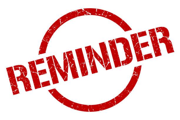 reminder red round stamp